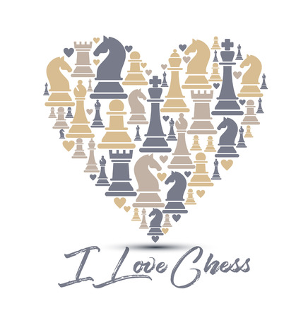 Print with chess pieces of heart. Design I love chess. Illusztráció
