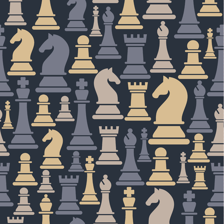 Seamless pattern with chess pieces. Illustration
