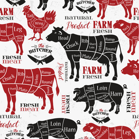 Meat cuts. Diagrams for butcher shop. Animal silhouette.