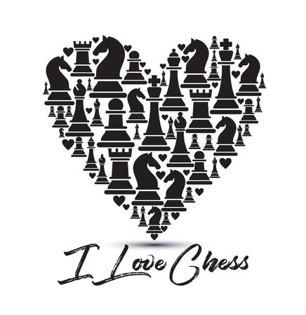Imprimer avec des pièces d'échecs de coeur. Conception J'aime les échecs.