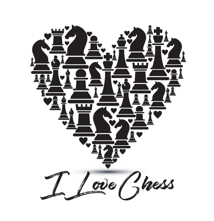 Print with chess pieces of heart. Design I love chess. Çizim