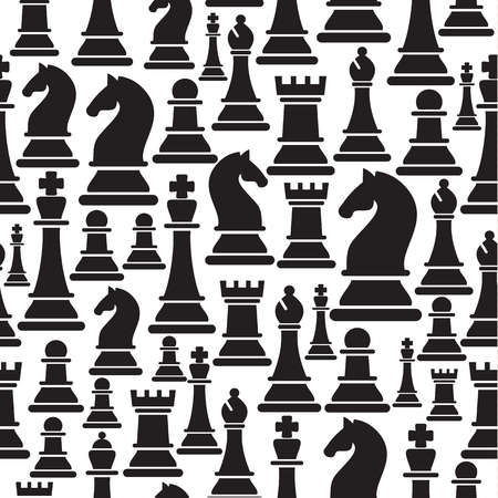 Seamless pattern with chess pieces. Stock Illustratie
