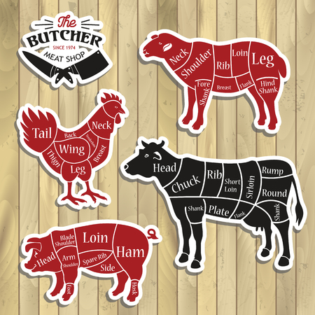 Meat cuts. Diagrams for butcher shop.