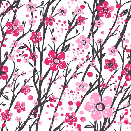 Sakura japan cherry branch with blooming flowers Illustration