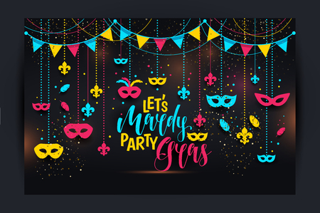 Mardi Gras icons colored frame with a mask, isolated on black background. Vector illustration