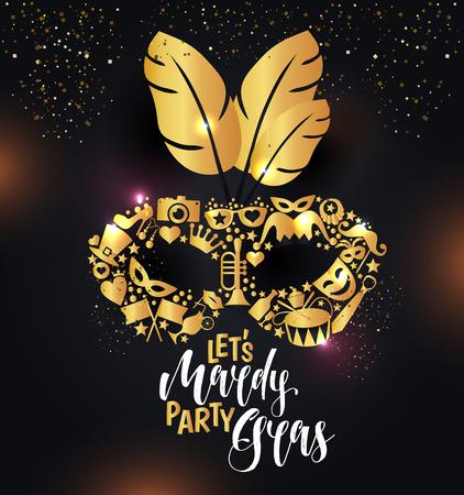 Bright carnival icons mask and sign Mardy Gras Ilustración de vector