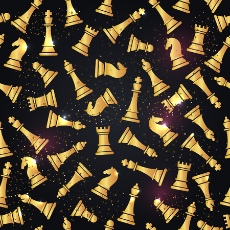 Seamless pattern with golden chess pieces. Vector illustration design.