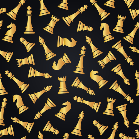 Seamless pattern with golden chess pieces.