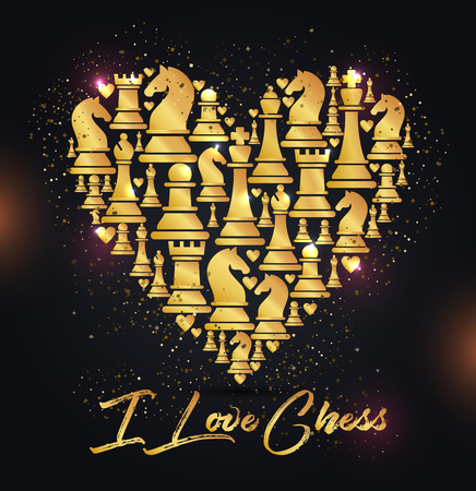 Print with golden chess pieces of heart. Design I love chess.