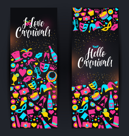 Bright vector carnival banners in neon style