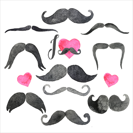 Mustaches set in watercolors. Design elements. Hand drawn set.