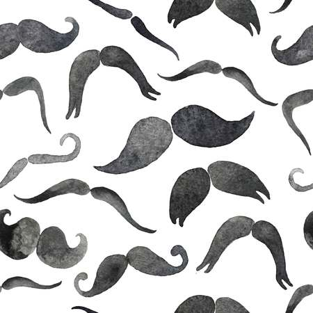 Mustaches set in watercolor. Design elements. Hand drawn set.