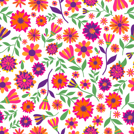 Pattern with marigold flowers. The main symbols of the holiday on the white Illustration