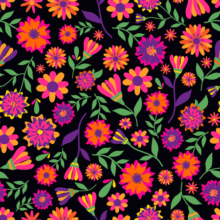 Dia de los muertos seamless vector pattern with marigold flowers.