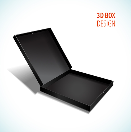 Vector thin box with open lid.