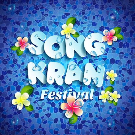 Songkran Festival in Thailand of April, paper style lettering, on blue water, flowers tropical.