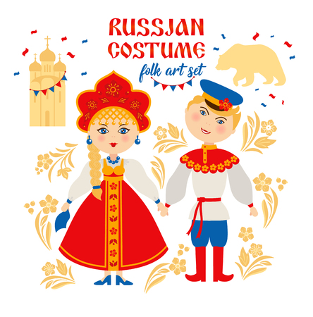 Russische Leute in Volkstracht. Russland, Moskau-Konzept. Vektorgrafik