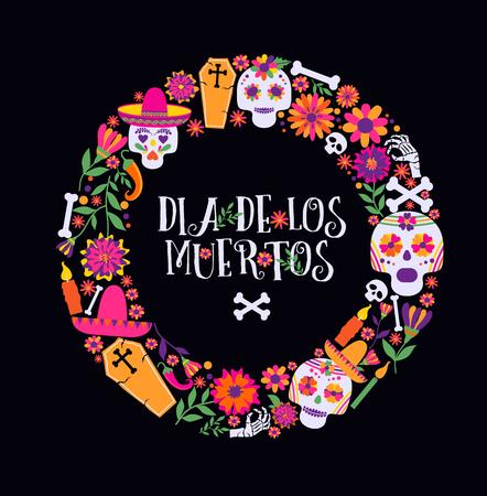 Día de los muertos, Día de los muertos, pancarta con coloridas flores e íconos mexicanos.