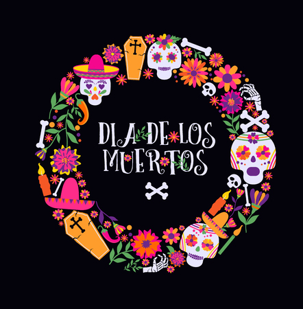 Day of the dead, Dia de los muertos, banner with colorful Mexican flowers and icons. Stok Fotoğraf - 117835280