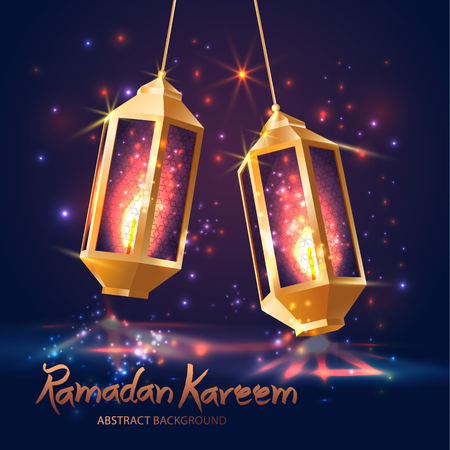 Ramadan Kareem Islamic  with 3d cute lanterns. 스톡 콘텐츠 - 118621702