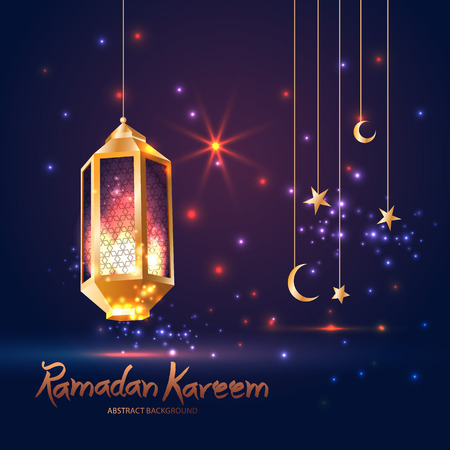 Ramadan Kareem islamic illustration with 3d cute lantern and star and moon. 일러스트