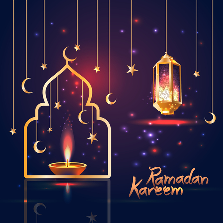Ramadan Kareem islamic illustration with 3d cute lantern and star and moon. Illustration
