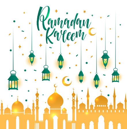 Ramadan Kareem Islamic  with 3d cute lantern and star and moon with mosque.