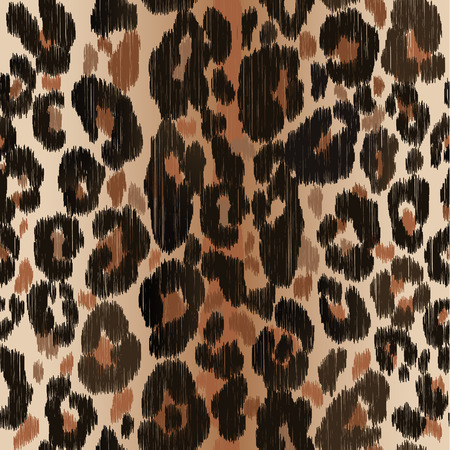 Seamless leopard wild nature embroidery pattern. Imagens - 118621888