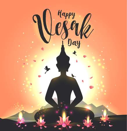 Vector illustration greeting card for Vesak day with lotus flower and buddhas silhouette. 写真素材 - 118830022