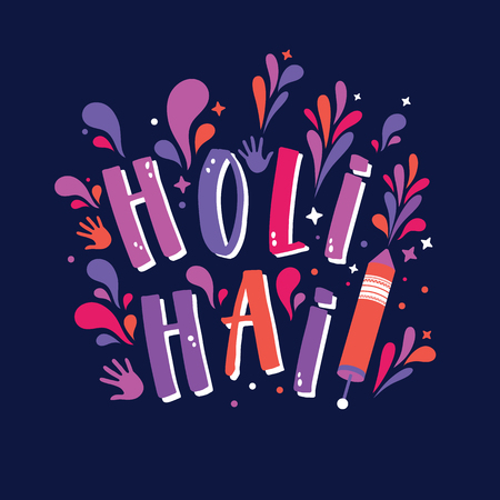 Happy Holi vector sign with colorful hands and colors blots.