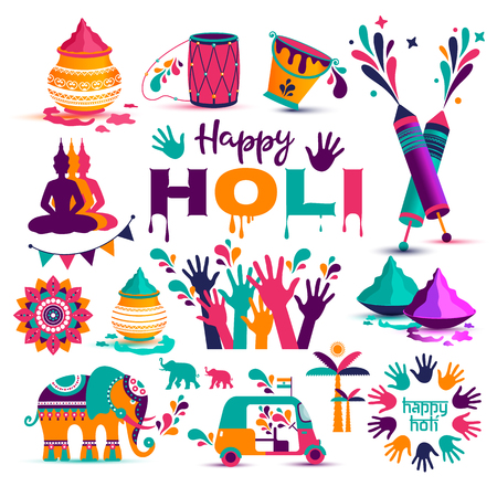 Set of Holi flat icons in indian style.