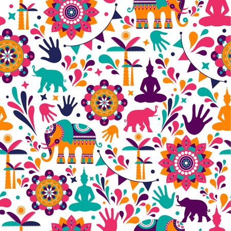 Diseño de patrones sin fisuras de elementos vectoriales Happy Holi, diseño Happy holi con icono colorido.