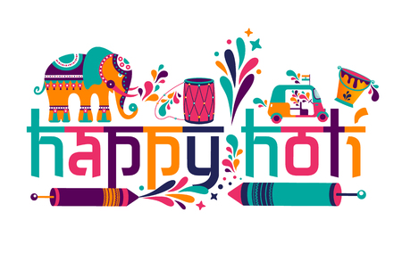 Happy holi  elements for card design , Happy holi design with colorful icon.