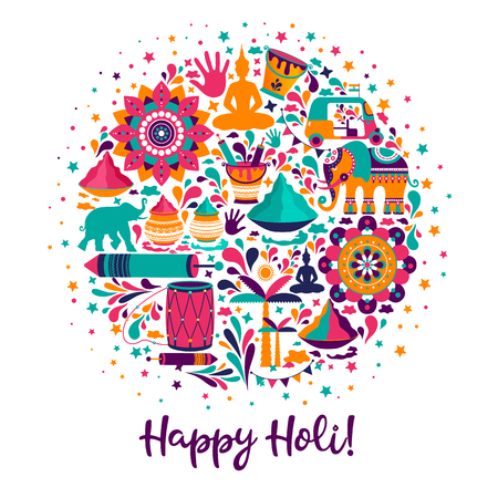 Happy holi elements for card design, Happy holi design with colorful icon.