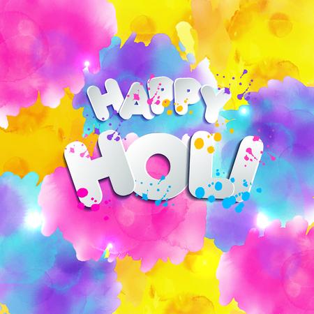 Mano acuarela dibujada tarjeta de celebración Happy Holi. Tarjeta de invitación