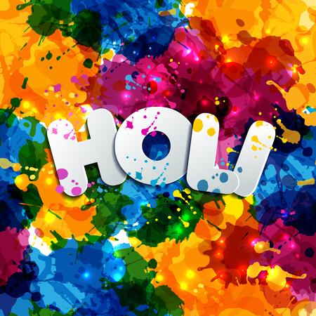 Watercolor hand drawn Happy Holi celebration card. Invitation card in vector.