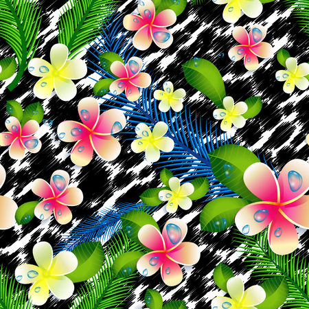 Beautiful seamless floral jungle pattern background. Tropical flowers and leaves.