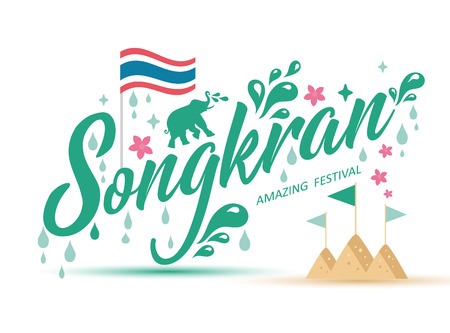Songkran Festival in Thailand of April, lettering logo with songkran icon set.