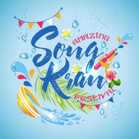 Amazing Thailand Songkran festival design on blue water Vectores