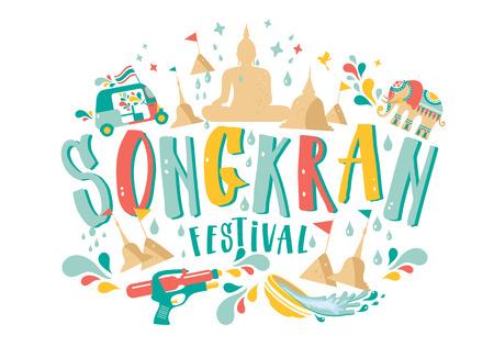 Amazing Thailand Songkran festival design on white