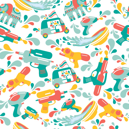 Songkran festival in Thailand. Seamless Pattern with gun,elephant, water, and tuk-tuk.