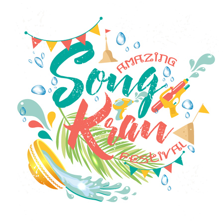 Amazing Thailand Songkran festival design on white