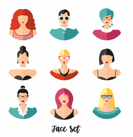 Set woman face hairstylein color. Girls vector illustration. 일러스트