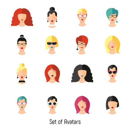 Set woman face hairstylein color. Girls vector illustration. Vettoriali