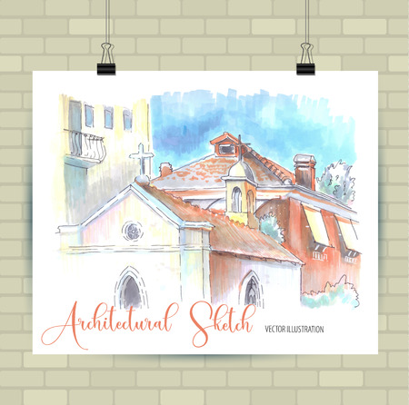Poster with beautiful landscape and urban elements. Illustration