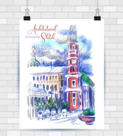 Illustration de croquis au format vectoriel. Affiche avec de beaux paysages et éléments urbains.
