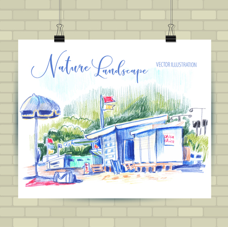 Sketching illustration in vector format. Poster with beautiful landscape and urban elements.