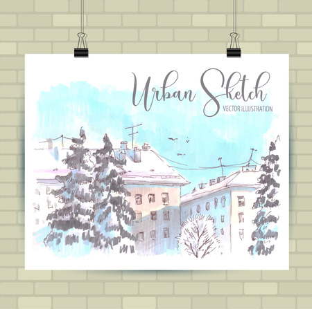 Poster with beautiful landscape and urban elements.  イラスト・ベクター素材