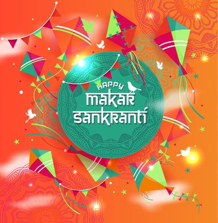 Happy Makar Sankranti with colorful kite string for festival of India Ilustracja