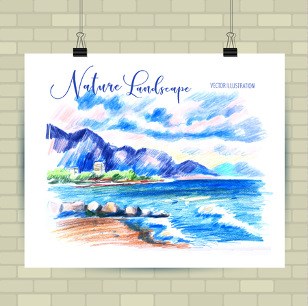 Sketching illustration in vector format. Poster with beautiful landscape. Illustration